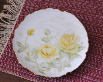 Hand Painted China Plate, Yellow Roses