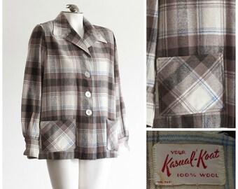 1950s brown plaid lightweight wool jacket