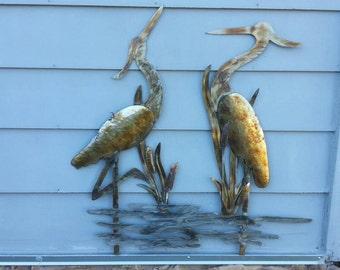 Heron - birds -  home decor - yard art - Heron in pond - Birds in pond - metal art - Heron in a pond