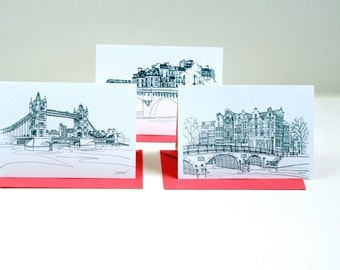 Europe notecards set of 3 printed illustrations cards with red envelopes Paris London Amsterdam