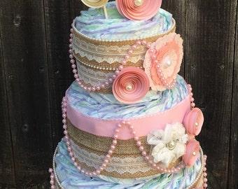Diaper Cake-Shabby Pink Diaper Cake-Chic Burlap Diaper Cake-Elegant Diaper Cake-Vintage Diaper Cake-Chic Diaper Cake-Girl Diaper Cake