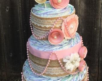 Shabby Pink Diaper Cake-Chic Burlap Diaper Cake-Elegant Diaper Cake-Vintage Diaper Cake-Chic Diaper Cake-Baby Girl Diaper Cake