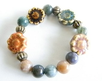 Natural Colors of Blues, Grays, Browns Ceramic and Glass Beaded Stretchy Bracelet