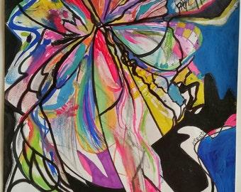 Mixed Media Original Contemporary, Modern, Abstract Original Painting, Street Art