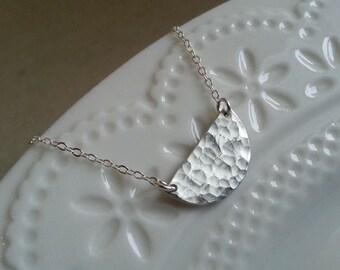 Half Moon Necklace, Sterling Silver Necklace, Layering Necklace, Simple Necklace, Crescent Necklace, Hammered Necklace, Layering Necklace
