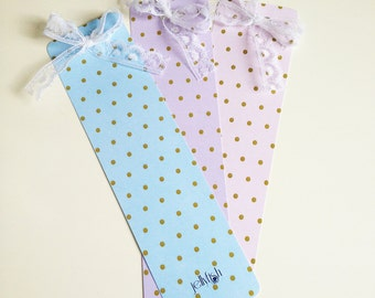 Set of 3 Bookmarks Vintage Romantic Dots collection