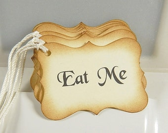 Eat me Tags, Vintage Look, Party Favor Tags, Treat Bag Tags, Wedding Tags, Set of 15