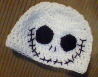 """crochet Inspired """"Jack"""" from the nightmare bfore christms hat"""
