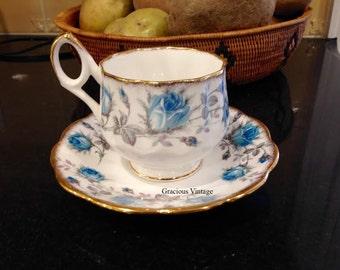 Vintage Rosina Blue Roses Tea Cup & Saucer Circa 1950s - Free Shipping