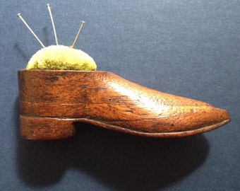 Antique Wooden Shoe Pincushion