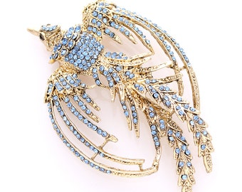 Phoenix Brooch Crystal Blue Gold Phoenix Broach Bird Brooches Great Jewelry Gift