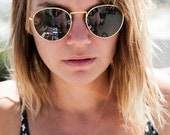 Vintage Round Sunglasses Gold, Silver or Black with Glass Lenses -Julian
