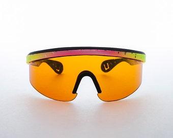 Sports Wrap Vintage Sunglasses with Blue blocker Lens-Pollock
