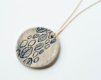 BLUE LEAVES ceramic NECKLACE, Ceramic jewelry, Ceramic statement pendant, Statement necklace, Statement jewellery, Gift for girlfriend
