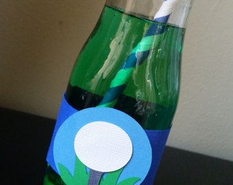 Golf Water Bottle Labels, Golf Napkin Rings, Gold Tableware, A hole in One