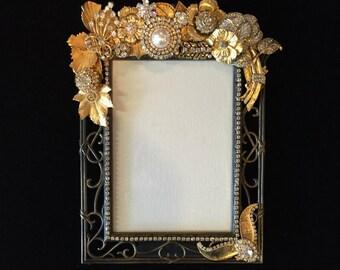 Vintage Gold Jeweled Frame, Gold Jeweled Frame, Handmade Frame, Wedding Frame, Bridesmaid Gifts