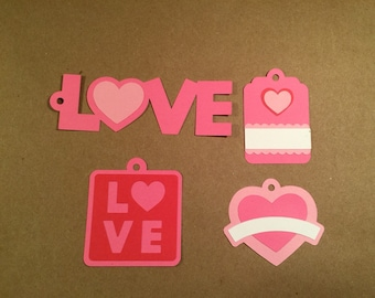 Valentine's Day tags, love tags, wedding favor tags, pink heart tags