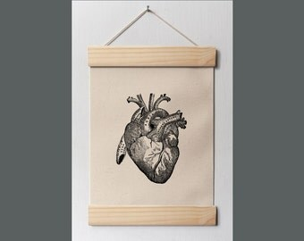 Including frame - Heart Anatomy - Hard Canvas Wall Hanging, Antique, Prints, art, Posters, Home Decor,vintage looking - a105