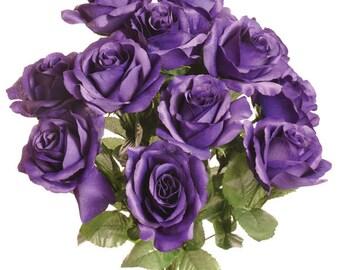 """New Silk Purple Rose Bush, 12 Purple Roses 3.5"""" in diameter, Fake Purple Roses"""