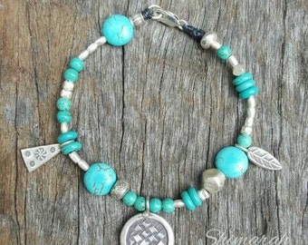Hill Tribe Silver & Turquoise Howlite beaded Gemstone Bracelet, Boho, Tribal, Beach, Surf. Pure Silver, Karen Hill Tribe, handcrafted.