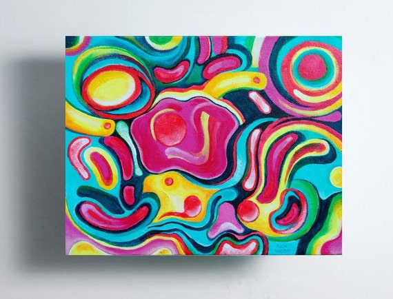 Painting bright colors turquoise and magenta acrylic abstract - Bright turquoise paint colors ...