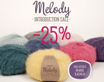 Garnstudio DROPS Design Melody Chunky Fluffy Alpaca yarn 50g 71% superfine alpaca 25 merino brushed knitting wool
