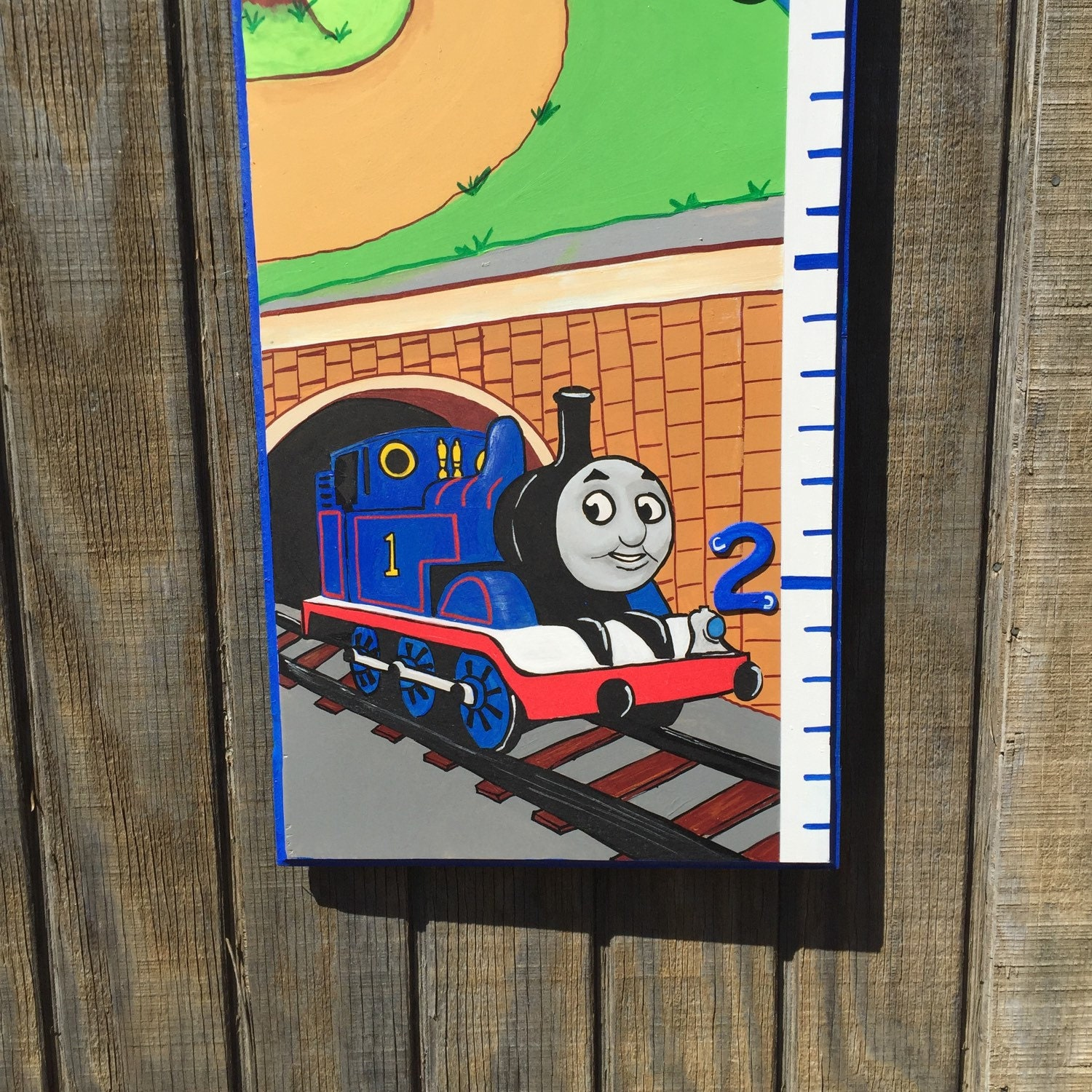 Hand painted growth chart mural growth chart thomas the tank hand painted growth chart mural growth chart thomas the tank engine themed decor nvjuhfo Choice Image
