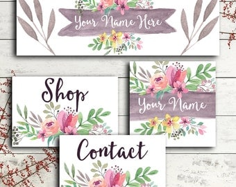 Facebook cover set social media header profile pic modern watercolor graphics floral feminine