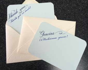 6 Thank you cards, blue