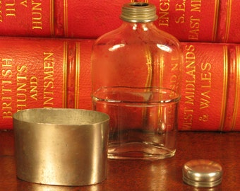 Antique Victorian Vintage English Silver Plate Heavy Glass Hip Drink Flask C1900