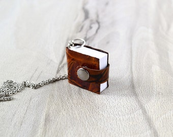 Brown leather mini book necklace Leather necklace Book pendant Small notebook Miniature book with chain Notebook necklace Tiny book