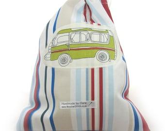 Campervan beach stripe drawstring bag