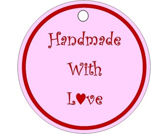 24 pack product label swing tag handmade with love pink circle tag cardstock swing tag price tag label gift tag wedding favour tags