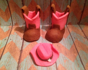 Pink Fondant Cowgirl Boots And Hat