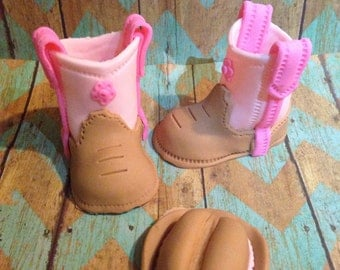 Pink/Brown/Daisy Cowgirl Hat And Boots