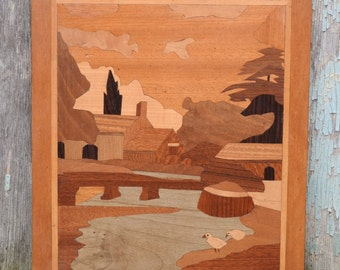 Inlaid wooden panel