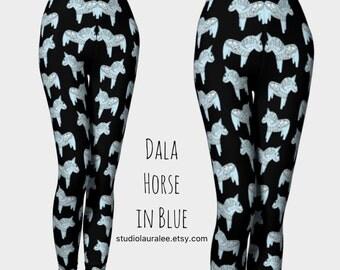 Dala Horse Leggings • Compression Fit • Workout Leggings • Swedish Horse • Unique Pattern • Animal Leggings • Blue Horses