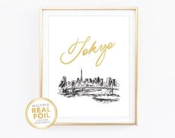 Gold foil Print, Tokyo Skyline, Tokyo Sketch, Japan, Real Foil Print, Silver foil, Home Decor, Wall Art, Gallery Art