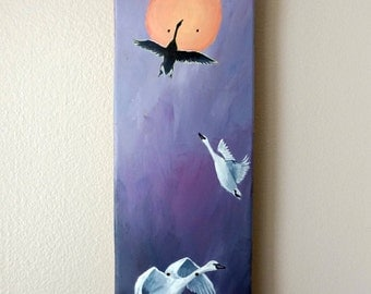 Original Acrylic Painting / Purple Swans Sunset Painting / Acrylic on Wood Skateboard Deck / Wall Art Decor