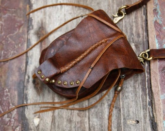 Leather bag / Fanny pack / Leather Utility Belt Bag / Festival hip bag / Boho bag / High quality hand made / small bags