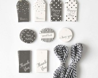 90 x Gift Tags SET / Black and White