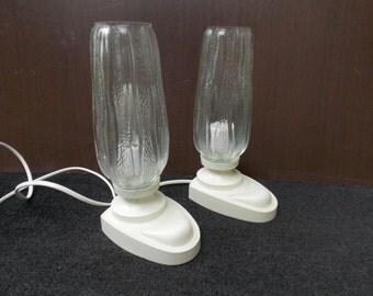 Pair Table Lamps Desk Lamps 1970s / Desk Lamp / White lamp / Bedside Lamp / Vintage Lantern / Glass Lampshade / night lamp