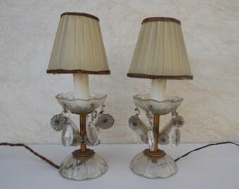 Pair Table Lamps Desk Lamps 1950s / Cyrstal lamp / mid century desk lamp / table lamp / pair table lamp / plastic lamp / night lamp