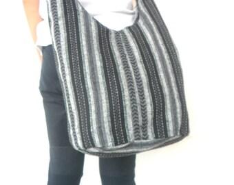 Shoulder Bag Bohemian Bag Black Gray Color Flower Bag Messenger Bag Hippie Hobo Crossbody Bag Boho Purse Sling Thai Art Gift Bag