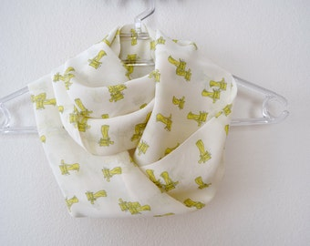 Lemon Yellow Chiffon Infinity Scarf with Cats Print, Catperson, Gift for Her, Summer Fashion, Women Accessories, Spring, Summer, Fall
