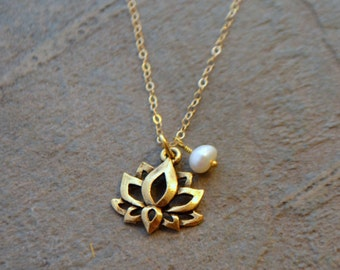 Gold Lotus Necklace - Lotus Flower Necklace
