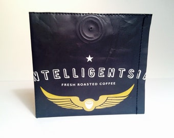 Intelligentsia Black Cat Espresso coffee bag wallet. Upcycled, unique, durable, recycled