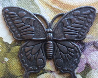 Blackened brass butterfly pendant. With 2 holes