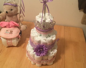 Diaper cakes for baby shower display or gift