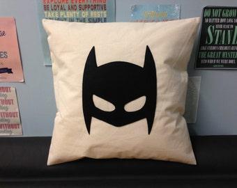 BATMAN -  Cream & Black Felt Mask Cushion Natural Pillow Cover Superhero Applique Design Boy's Children's Bedroom Playroom 14 16 18 20 inch